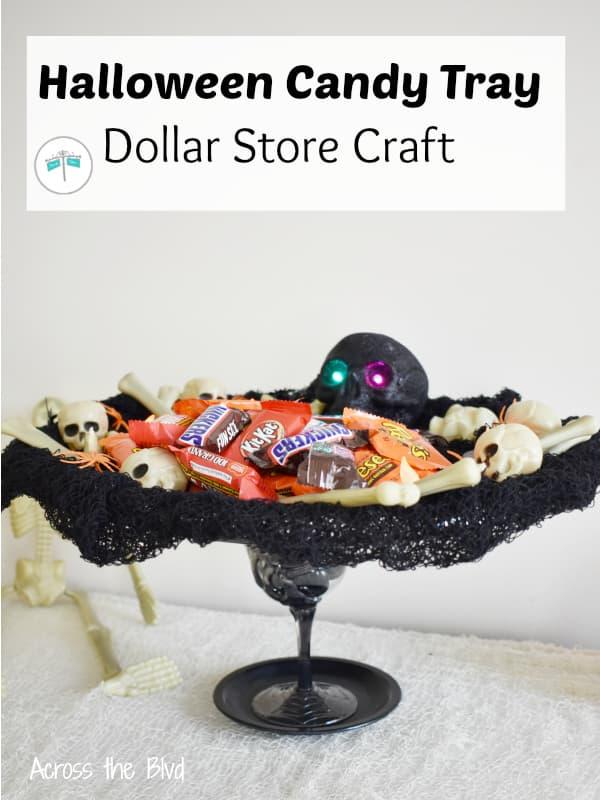 DIY Halloween Skeleton Candy Tray Using Dollar Store Items