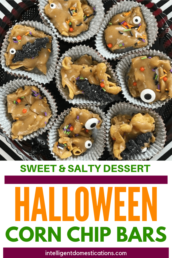These Sweet and Salty No Bake Corn Chip Dessert Bars are easy to decorate for any season. These are Halloween Dessert Bars with edible candy sprinkles for decoration. Make them for a Game Day Dessert too because they are only four ingredients and everyone loves these. #nobakedessert