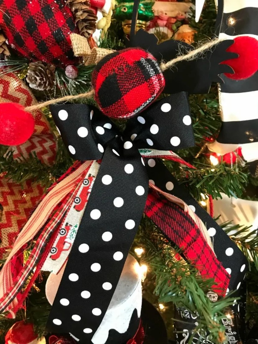 Ribbons and bows on a Christmas tree
