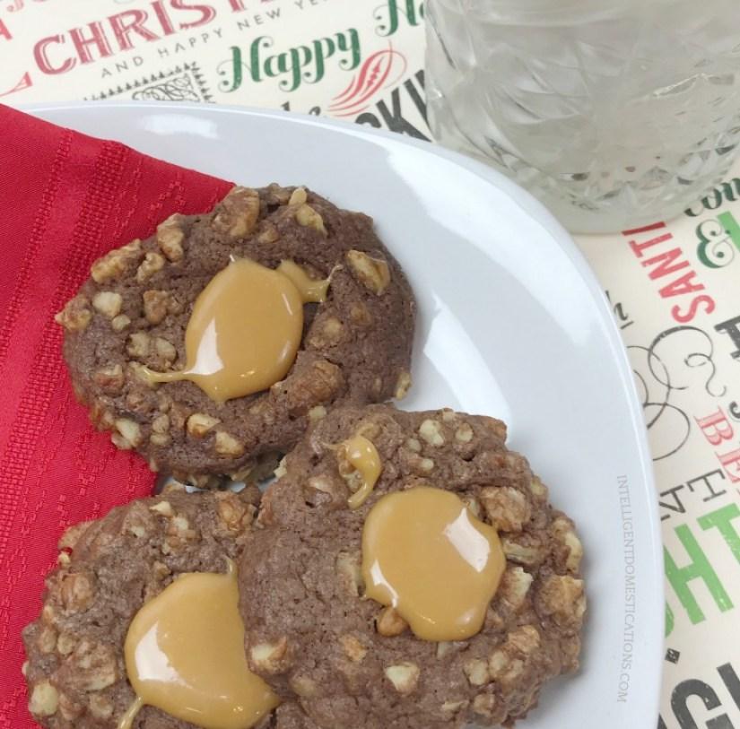 Chocolate Pecan Thumbprint Cookies