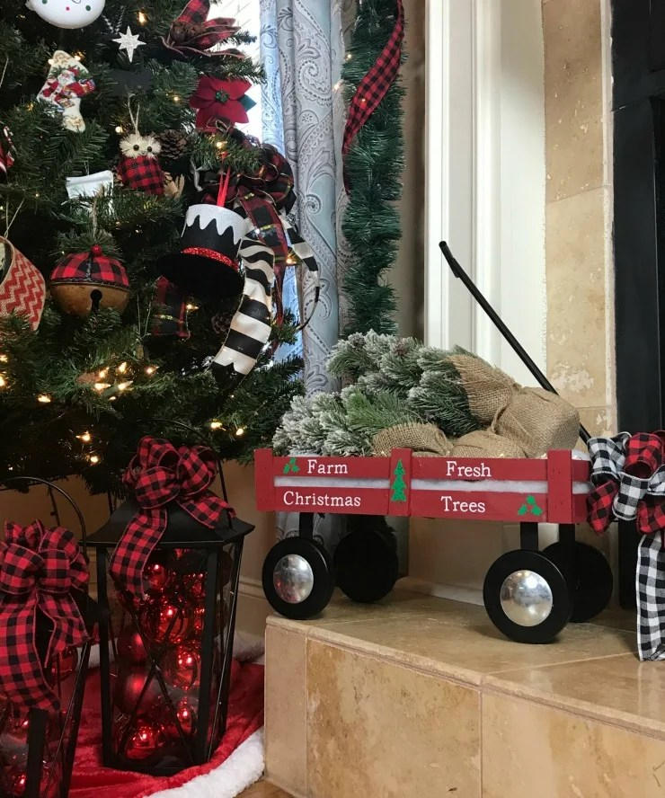 Easy DIY Red Wagon Christmas Decor you can create for yourself
