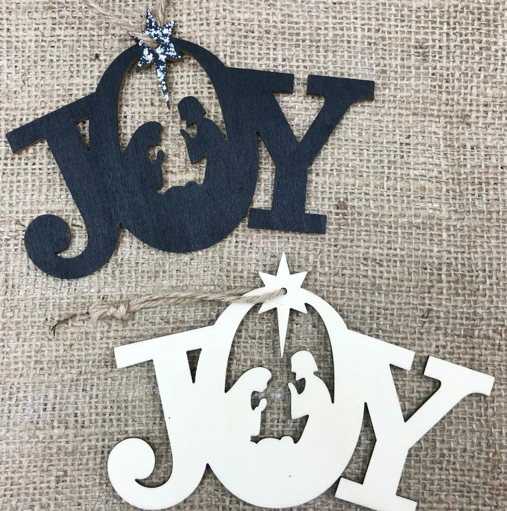 Paint these JOY and Nativity Christmas Ornaments for your Christmas Decor. These unfinished wood ornaments are a quick and easy Christmas Craft. Use them for gift tags or as ornaments on the tree.