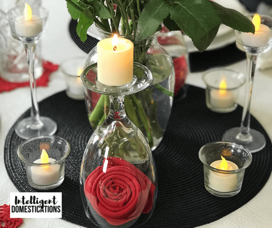 Candles set a romantic mood as part of a Valentines table centerpiece
