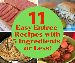 11 Easy Entree Recipes Using 5 or Less Ingredients. Pork, Chicken and Beef cheap and easy recipe dinner ideas. #cheaprecipes #frugalmeals #intellid