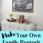 How To Make Your Own Family Portrait Engineer Print the cheap way. It's much easier than you think to make a large family portrait to hang on your living room wall! #diydecor #diywalldecor