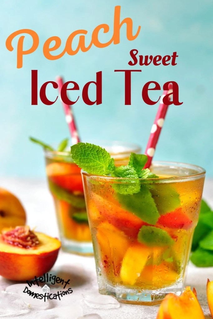 Iced tea in glasses with straws on ice with peaches floating inside. Cut up peaches are displayed