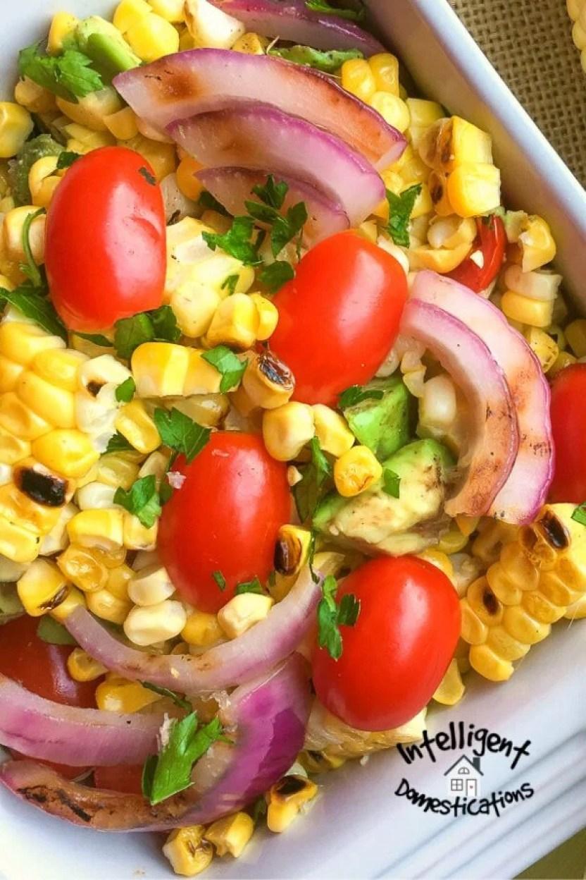Corn, Tomatoes, Onions and Avocado Salad