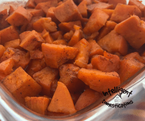 Candied yams served in a square glass casserole dish