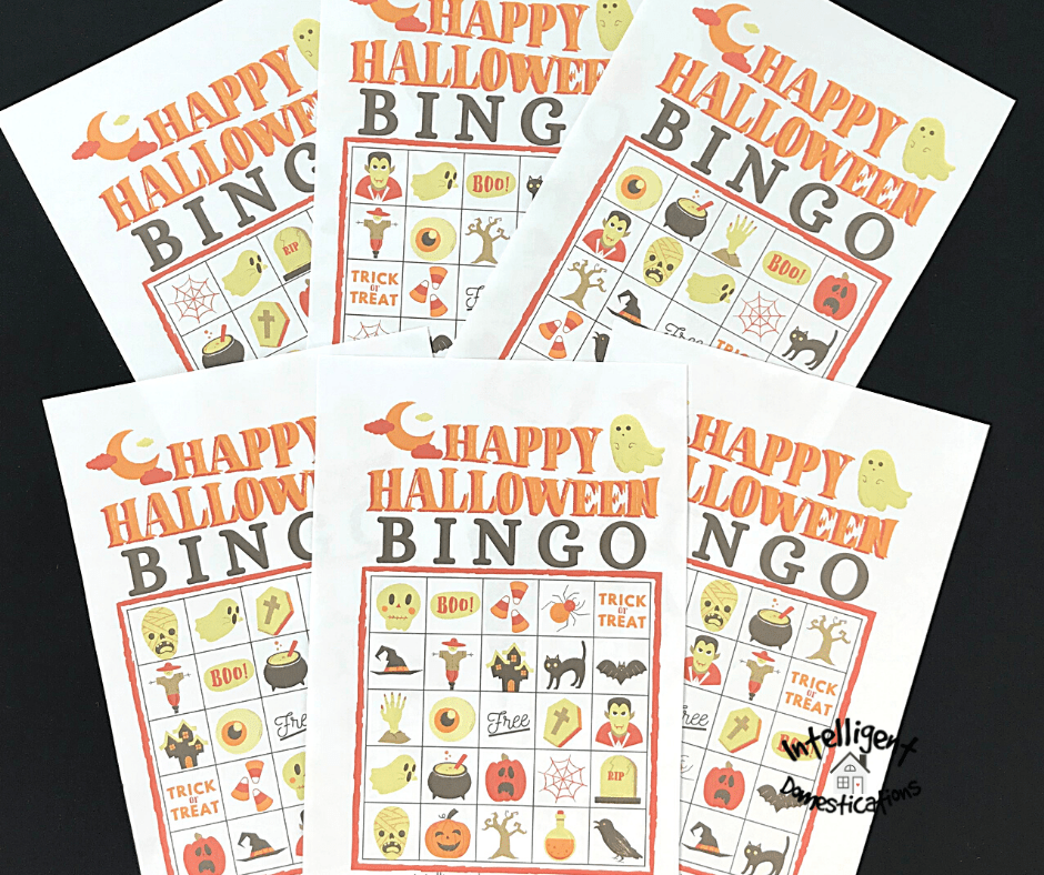 A set of six Bingo cards for Halloween