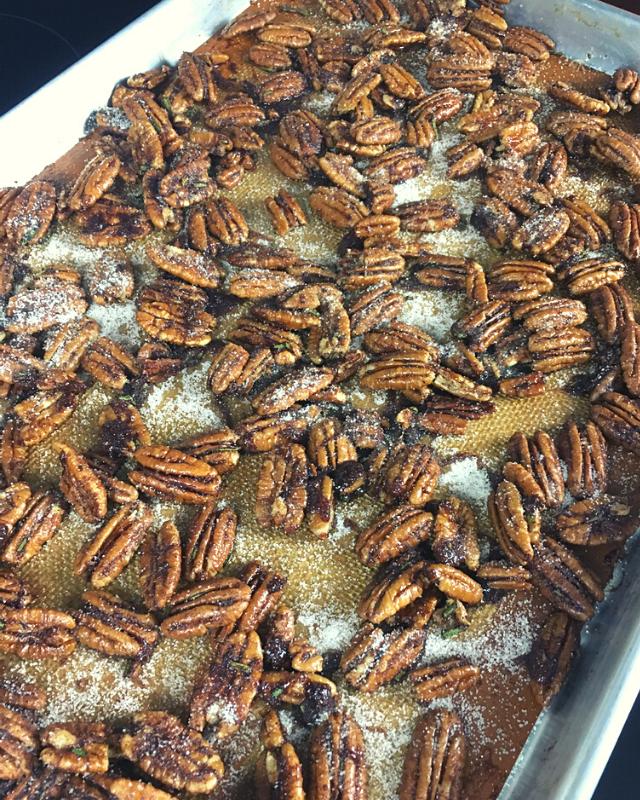 Pecans on a baking sheet