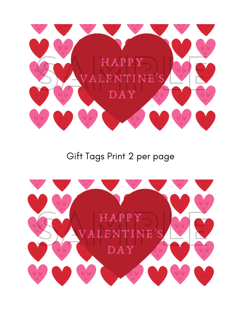 red and pink Valentine hearts gift tags with a large red heart in the center