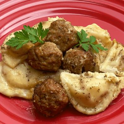 Crockpot Pierogi & Meatballs Alfredo Easy Recipe
