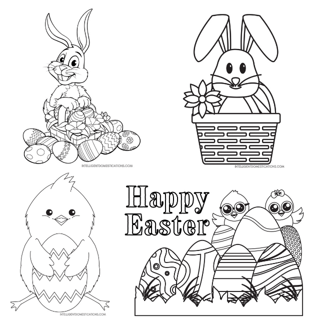 4 Easter coloring pictures samples of bunnies and chicks