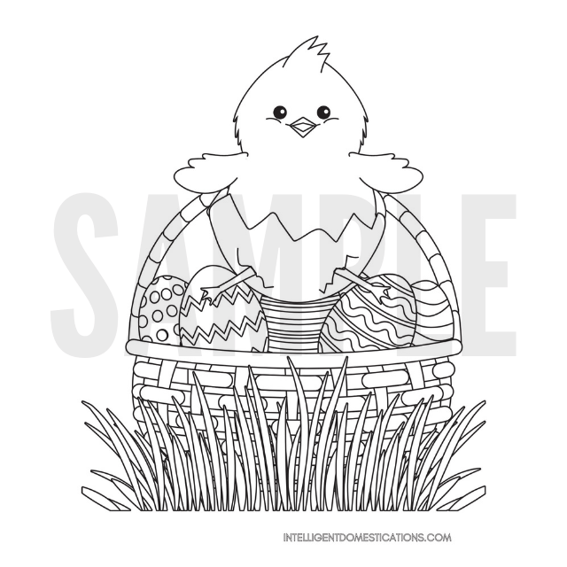 Easter Chick sitting on an egg in a basket