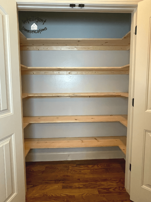 Finished shelving front view