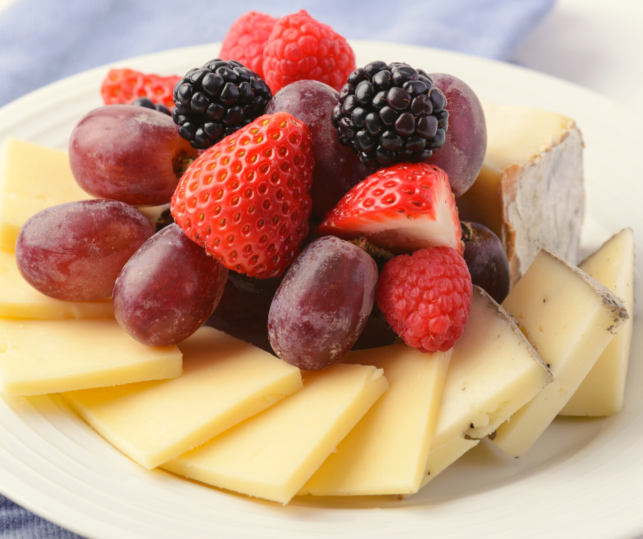 Cheese tray with cheese fanned out