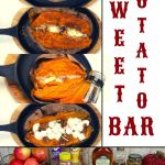sweet potatoes on iron skillet dishes with different toppings