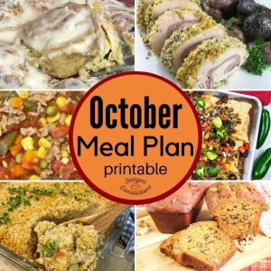 October meal plan graphic for intelligent domestications blog