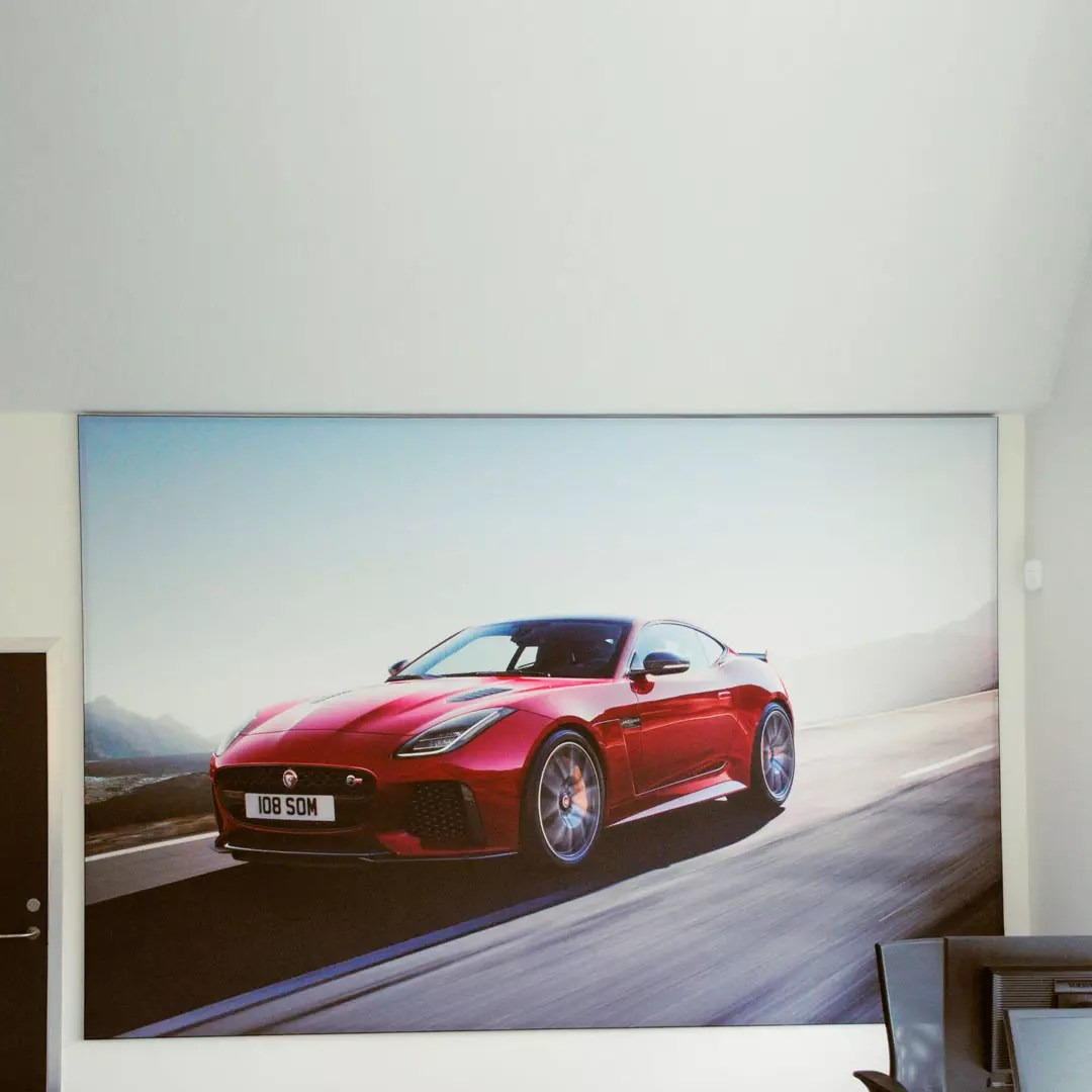 Acoustic painting of red car at British Motor Group, Copenhagen