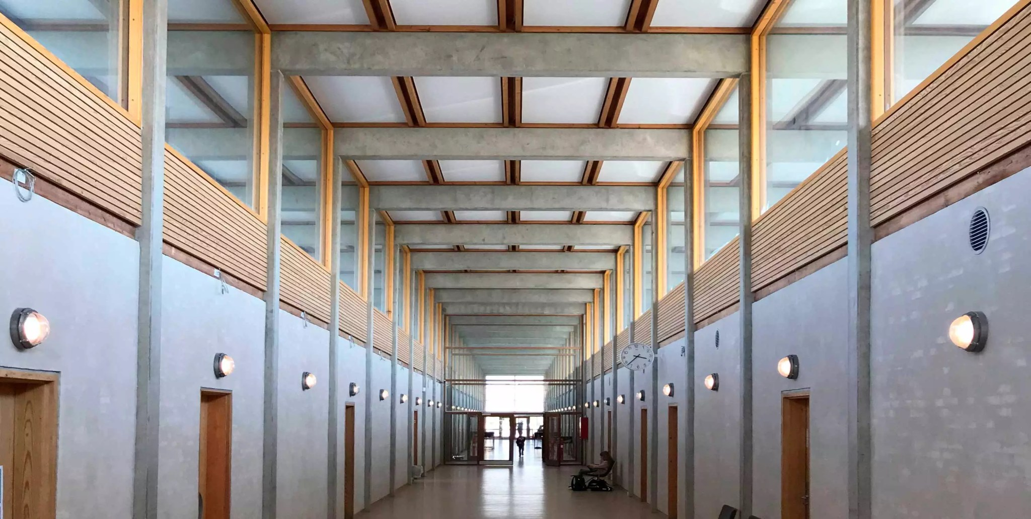 Acoustic and sustainable acoustic PET ceilings at Skovly Skolen. Made by Intelligent Space (INSP)