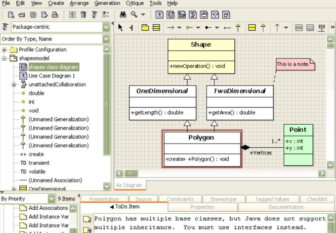 ArgoUML data modeling tool Print Screen