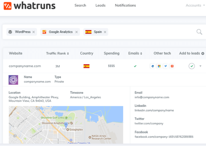 Whatruns - software thta reveals the competitor's technology