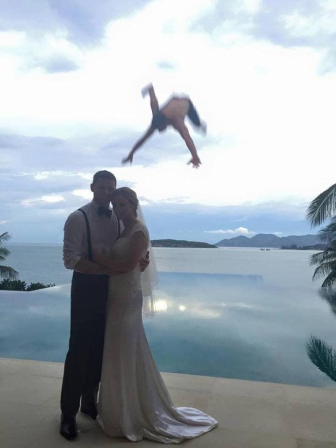 Funny photo of man falling from sky behind married couple