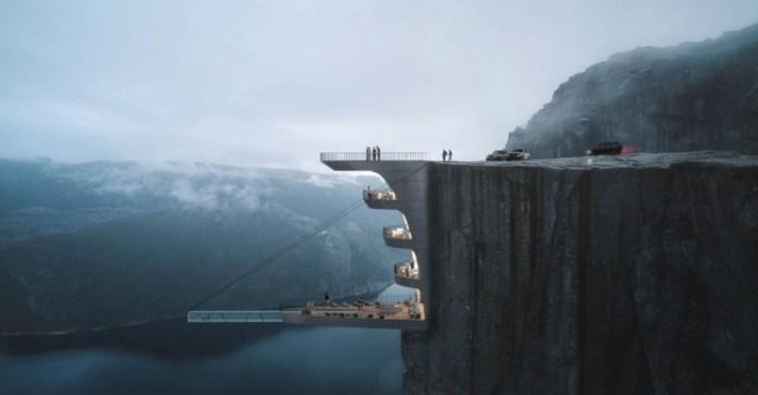 Потрясающий дизайн для Norwegian Cliff Hotel имеет самый сумасшедший бассейн со стеклянным дном когда-либо