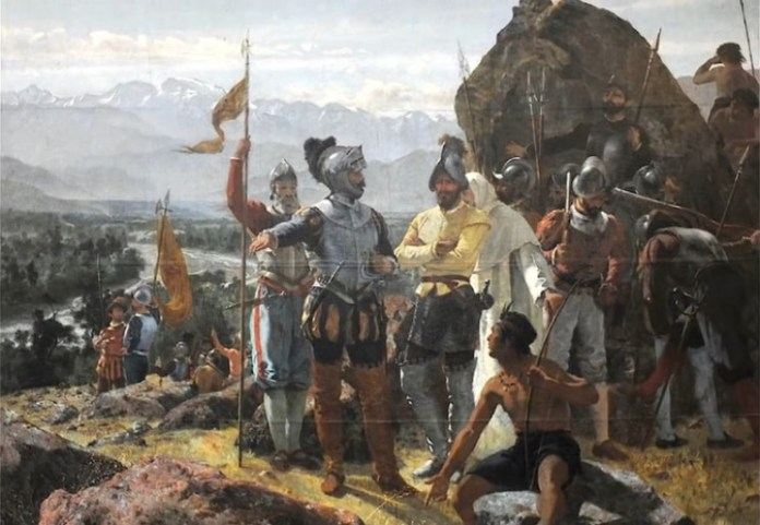 Spanish conquistadors in the New World