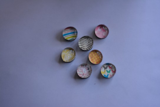 Glass Magnets using papers by Traci Reed
