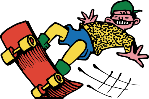 An illustration of a young boy on a skateboard