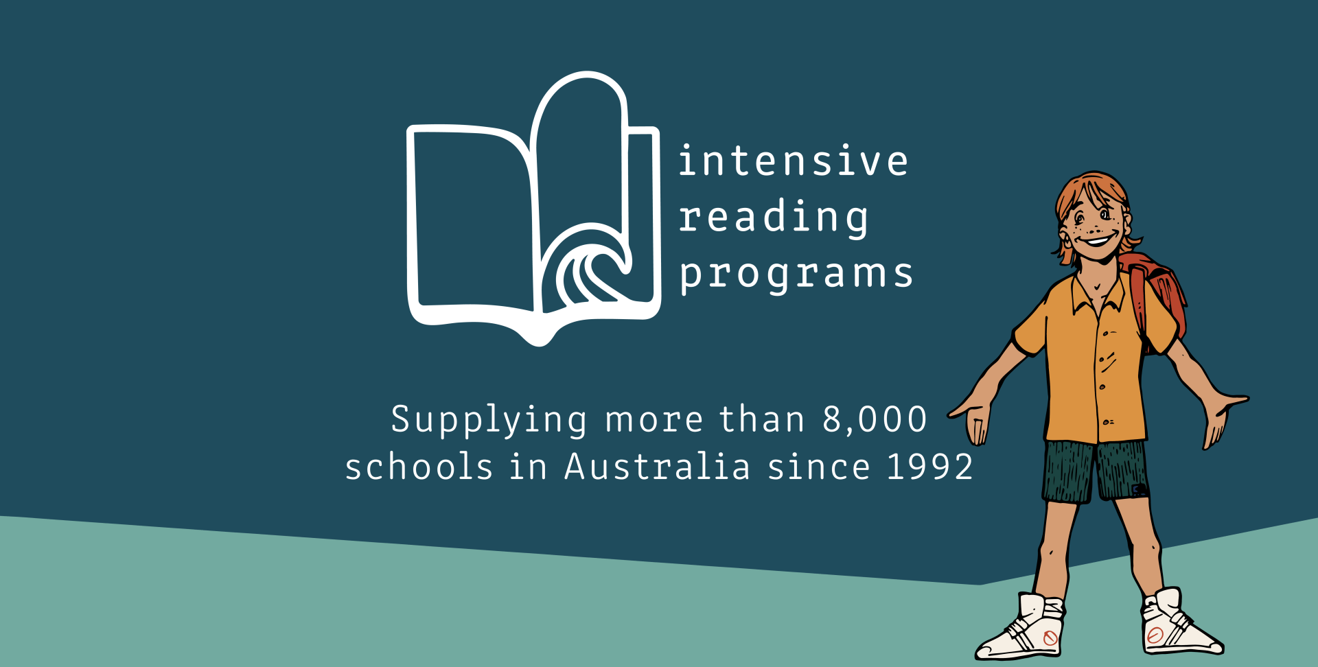 "A title banner with the program's logo (an open book with the motif of a wave at the pages' edge). The text reads ""Intensive Reading Programs"" in lowercase. It is subtitled with ""Supplying more than 8000 schools in Australia since 1992"". At the right hand side is an illustration of a young boy smiling"