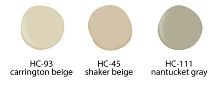Home Stagine Tips & Ideas, Benjamin Moore Carrington Beige HC-93, Shaker Beige HC-45, Nantucket Gray HC-111