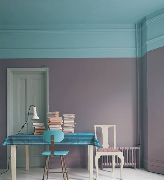 Farrow and Ball Wall: Brassica Ceiling: Stone Blue