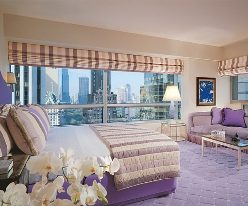 """Architectural Digest, Photography by Durston Saylor, Interior Design by Geoffrey Bradfield, ASID, Text by Stephen Drucker, """"Waxing Purple"""" Bedroom"""