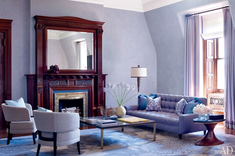 Architectural Digest, A Colorful Upper West Side Apartment by Jamie Drake,  Photography by William Waldron, Living Room