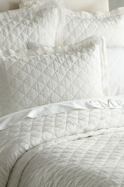 From Pottery Barn: LINEN DIAMOND QUILT & SHAMS