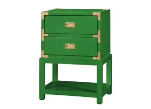 Bungalow5.  TANSU 2-DRAWER SIDE TABLE  HIGH GLOSS GREEN LACQUER: GOLD PULLS