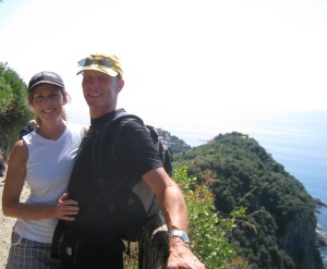 my husband and i on the hike thru Cinque Terre