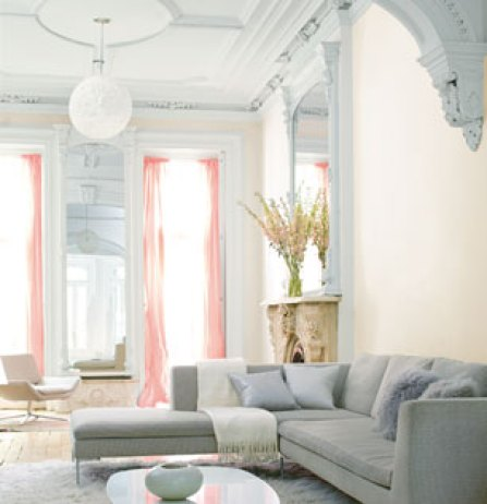 Decorating Trend Pastel Colors, Benjamin Moore Pink Damask OC-72, walls Chantilly Lace OC-65, trim