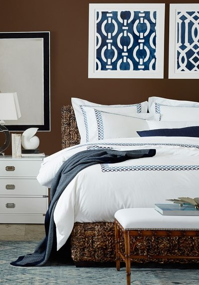 Beachy Home Decorating Ideas., Sorrento Bed from Williams-Sonoma Home.