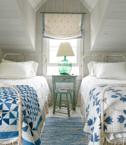 twin bedrooms, roman shade, summer-house, Planning for your Fall Decorating