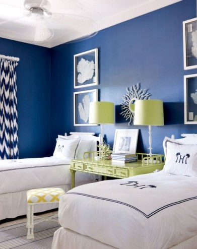 Blue & White Bedrooms, twin bedrooms, Spring Cleaning, Planning for your Fall Decorating, May's color of the month ... Blue