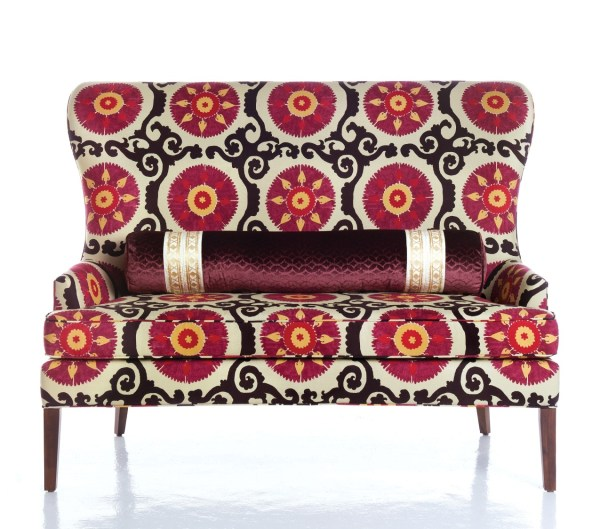 Trend Watch Dark Floral Fabrics, Settee in a dark global floral fabric