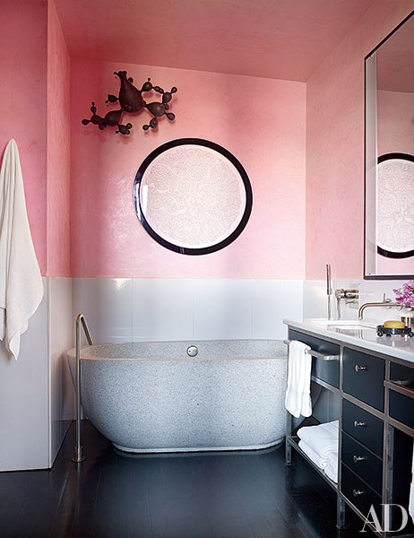 Pink Home Accessories, ArchitecturalDigest.com 10 Colorful Baths