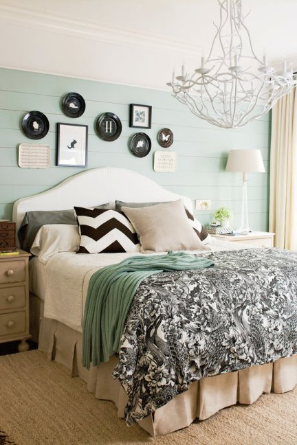 shiplap accent wall, shiplap bedroom, Bedding Trends, Bedding Trends 2016, 7 ways to create your own focal point, master bedroom, chandelier in bedroom, black bedding, shiplap wall, painted shiplap, soothing bedroom colors