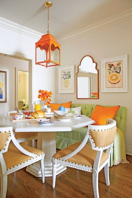 orange, diy Cozy Colorful & Comfy Kitchen Seating