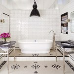 favorite bathrooms, freestanding tub, black and white tile