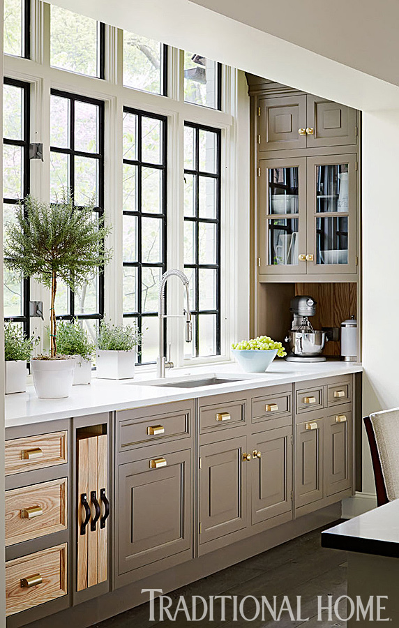gold home decor, painted cabinetry
