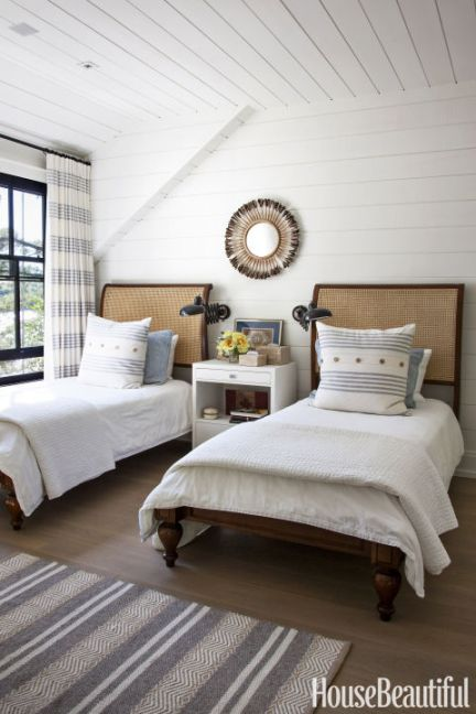 twin bedrooms, shiplap installation